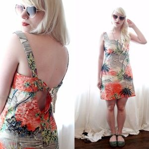 1990s low open tied back Hawaiian Tropical Dress